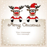Postcard with Christmas reindeer. Funny Christmas reindeer with a place for text greeting card. Postcard with Christmas reindeer. Christmas Reindeer catches Royalty Free Stock Photos
