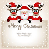 Postcard with Christmas reindeer and Santa. Santa Claus and reindeer with a place for text greeting card. Postcard with Christmas reindeer and Santa Royalty Free Stock Image