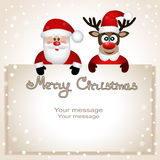 Postcard with Christmas reindeer and Santa. Santa Claus and reindeer with a place for text greeting card. Postcard with Christmas reindeer and Santa Stock Images