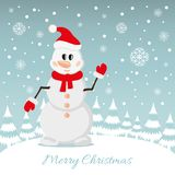 Postcard of Christmas Snowman Royalty Free Stock Photos