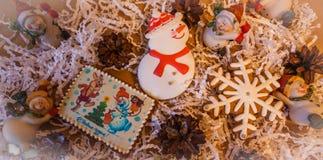 Postcard Christmas Snowman Snowflakes New year Stock Image