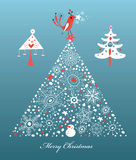 Postcard Christmas tree with a bird Royalty Free Stock Photography