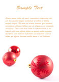 Postcard with Christmas-tree decorations and text Stock Photos