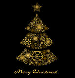 Postcard with a Christmas tree. Gold stars. On a black background Royalty Free Stock Photo