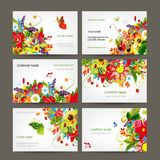 Postcard collection with floral bouquet for your Stock Photo