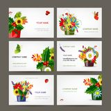 Postcard collection with floral pots for your Royalty Free Stock Photography