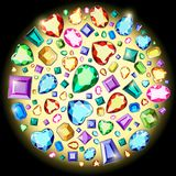 Postcard with colorful gems. Colored gems of different cut. Exclusive collection of precious stones on a black background stock illustration