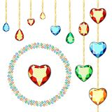 Multicolored diamonds on gold chains. Postcard with colorful gems. Colored gems of different cut. Postcard with colorful gems. A set of diamonds. Brasslet of vector illustration