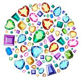 A set of precious stones of different colors and different cut. Diamonds in a circle. vector illustration