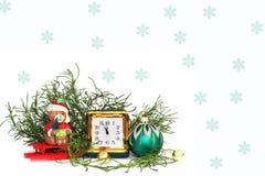 postcard Composição do `s do ano novo antiques Relógio de couro foto de stock royalty free
