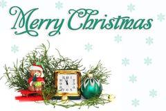 postcard Composição do `s do ano novo antiques Relógio de couro fotos de stock royalty free