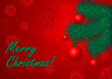 Postcard of congratulation Merry Christmas. Fir tree on a red back Royalty Free Stock Photos