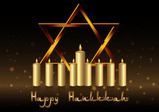 Postcard for congratulations with Festival of Lights Hanukkah Stock Images