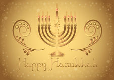 Postcard for congratulations with Festival of Lights Hanukkah Stock Photo