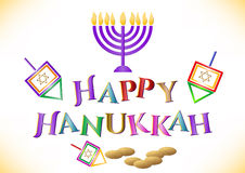 Postcard for congratulations with Festival of Lights Hanukkah Stock Image