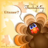 Postcard for congratulations with happy Thanksgiving Stock Images