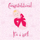 Postcard. Congratulations! It's a girl Royalty Free Stock Photography