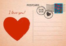 postcard Coração e palavras vermelhos eu te amo Illustrati do cartão postal ilustração royalty free