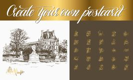 Postcard creator with sketch drawing of louvre paris. Postcard creator with sketch drawing of landmark paris france and set of 26 gold hand lettering positive royalty free illustration