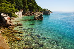 Postcard from Croatia. Beach near Dubrovnik, Croatia 2016 Royalty Free Stock Images
