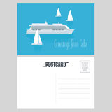 Postcard from Cuba and Caribbean with cruise liner vector illustration. Greeting card, airmail with template text sent from Cuba with vessels Stock Images