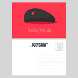 Postcard from Cuba with Che Guevara red star hat vector illustration Stock Image