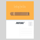 Postcard from Cuba with Cuban cigar vector illustration Royalty Free Stock Photo