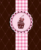 Postcard with cupcake Stock Photos