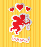 Postcard with Cupid Stock Images