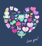 Postcard with cute animals heart shape for Valentine's Day, birthday, congratulations Royalty Free Stock Images
