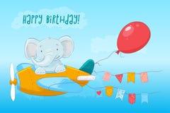 Postcard cute baby elephant flying on an airplane. Cartoon style. Vector stock illustration