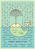 Postcard with cute careless whale baby swimming in the sea under rain making umbrella out of his fountain. Flat style design conce Stock Photo