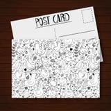 Postcard with cute cartoon birds and flowers Stock Photo
