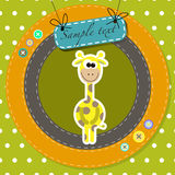 Postcard with cute giraffe. vector illustration Stock Images