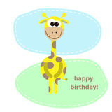 Postcard with cute giraffe. vector illustration Royalty Free Stock Images