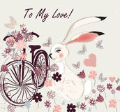 Postcard with cute rabbit bicycle and field of flowers to my lov Royalty Free Stock Photos