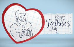 Postcard with Dad in Handcraft Heart Celebrating Father's Day, Vector Illustration. Postcard with a dad with a gift in doodle style inside a paper heart to stock illustration