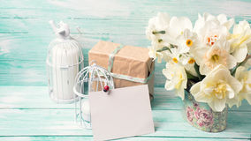 Postcard with daffodils flowers, gift box, candles and empty tag Royalty Free Stock Image