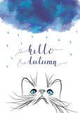 Postcard with dark clouds, rain and cat muzzle. Vector illustration vector illustration
