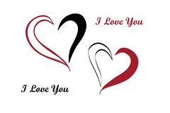 Postcard - declaration of love. In the form of heart contours Stock Image