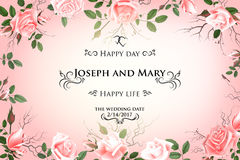 Postcard with delicate flowers roses. Wedding invitation, thank you, save the date cards, menu, flyer, banner template Stock Images