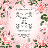 Postcard with delicate flowers roses. Wedding invitation, thank you, save the date cards, menu, flyer, banner template Royalty Free Stock Photo