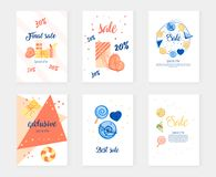Postcard with delicious cakes and gifts. Big sale and special offer Royalty Free Stock Photo