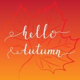 postcard design of bright autumn maple leaf. Stock Images