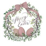 Postcard design Happy Easter with eggs vector illustration