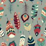 Seamless pattern with boho vintage tribal ethnic colorful vibrant feathers Stock Images