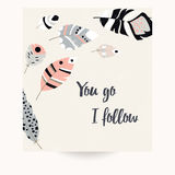 Postcard design with inspirational quote and bohemian colorful feathers. Vector illustration Stock Photos