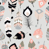 Seamless pattern with boho vintage tribal ethnic colorful vibrant feathers. Vector illustration royalty free illustration