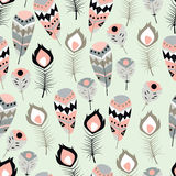 Seamless pattern with boho vintage tribal ethnic colorful vibrant feathers Royalty Free Stock Image