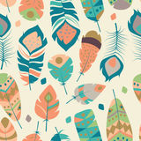 Seamless pattern with boho vintage tribal ethnic colorful vibrant feathers Royalty Free Stock Images